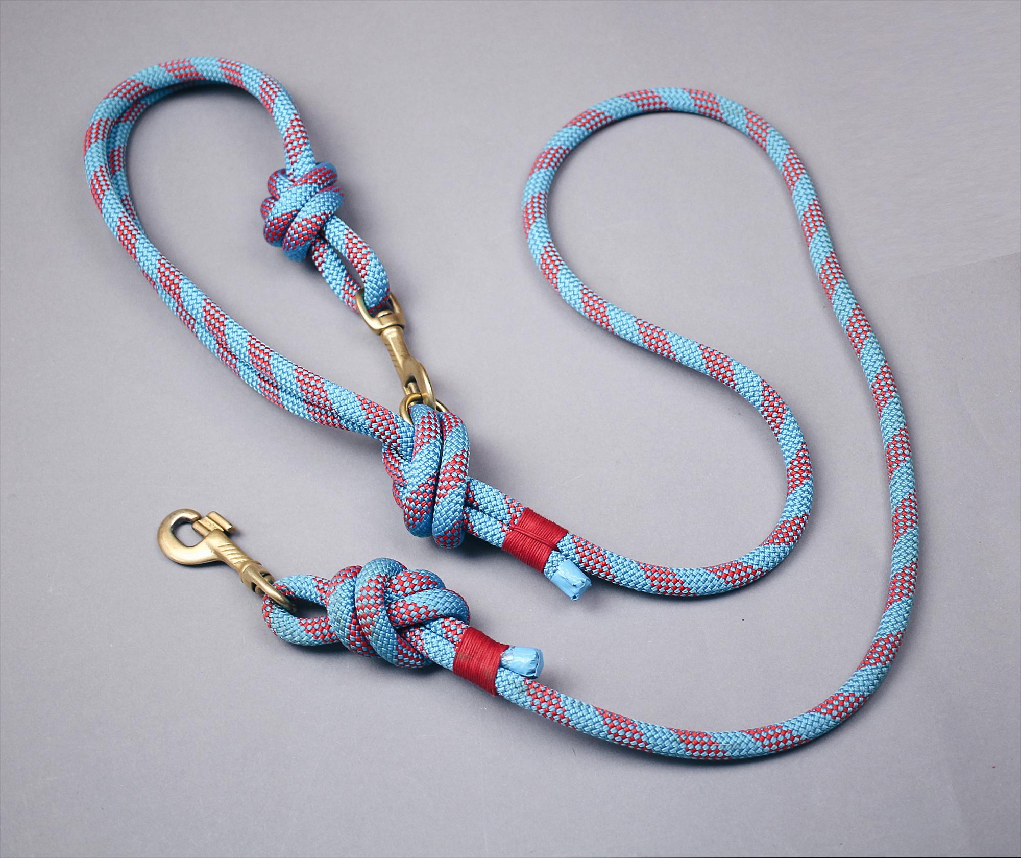 Hundeleine aus Kletterseil | blau / rot | ikarusdoodle