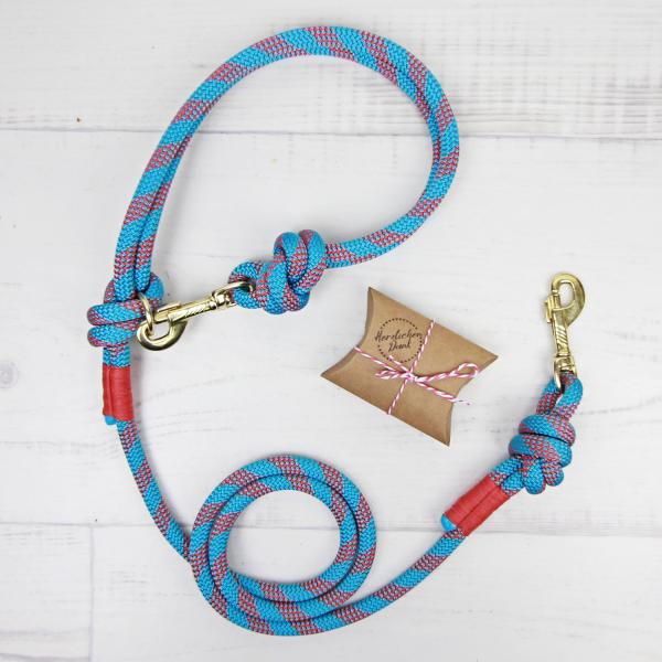 Hundeleine aus Kletterseil blau / rot ikarusdoodle