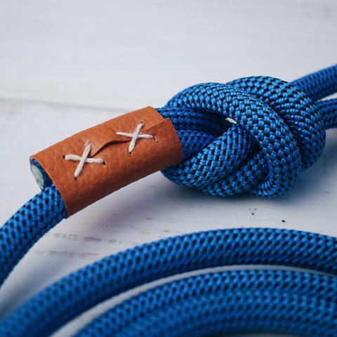 kletterseil hundeleine blau leder