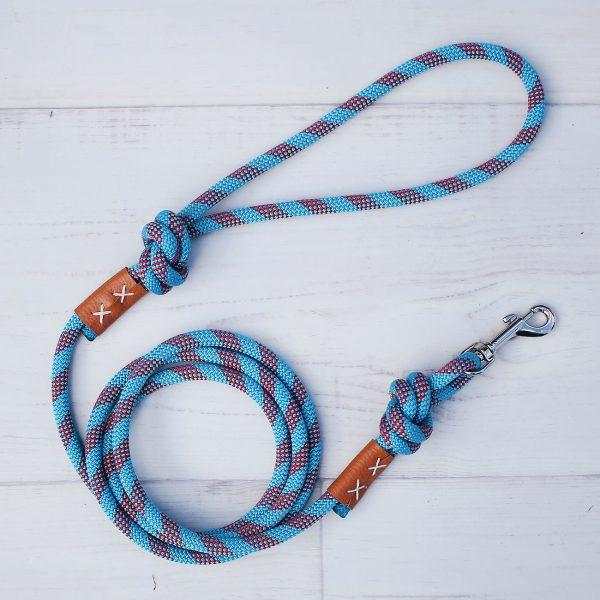 kletterseil-hundeleine-blau-rot-leder-ikarusdoodle