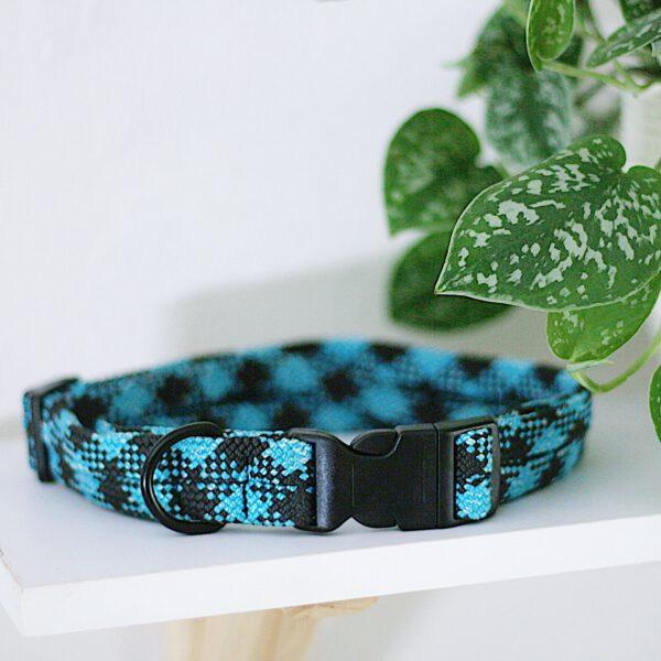 kletterseil-halsband-schwarz-blau-verstellbar