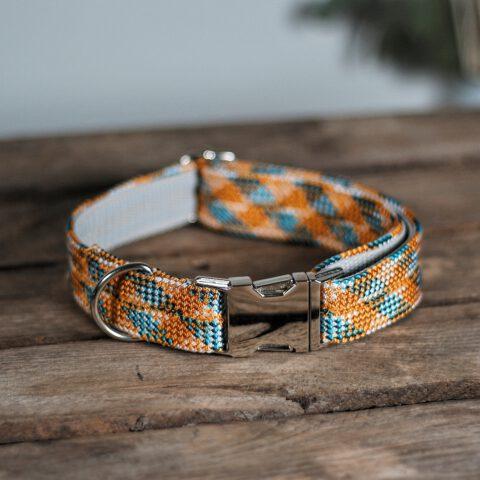 halsband-kletterseil-orange-blau-gestreift