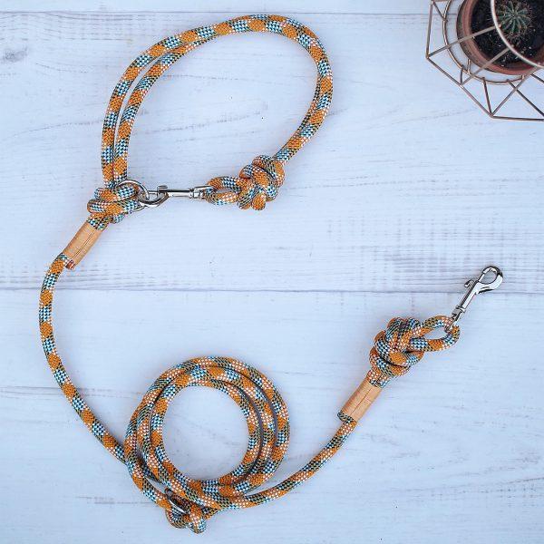 Hundeleine-kletterseil-orange-blau-eisvogel-ikarusdoodle