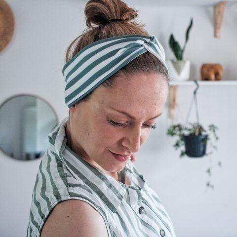 Haarband streifen grün weiß