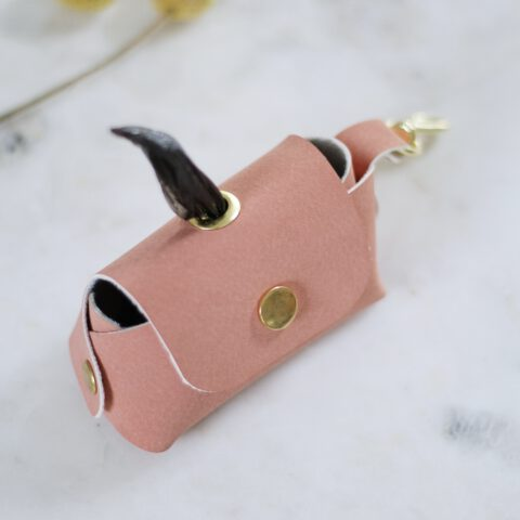 Kotbeutelspender kunstleder rosa